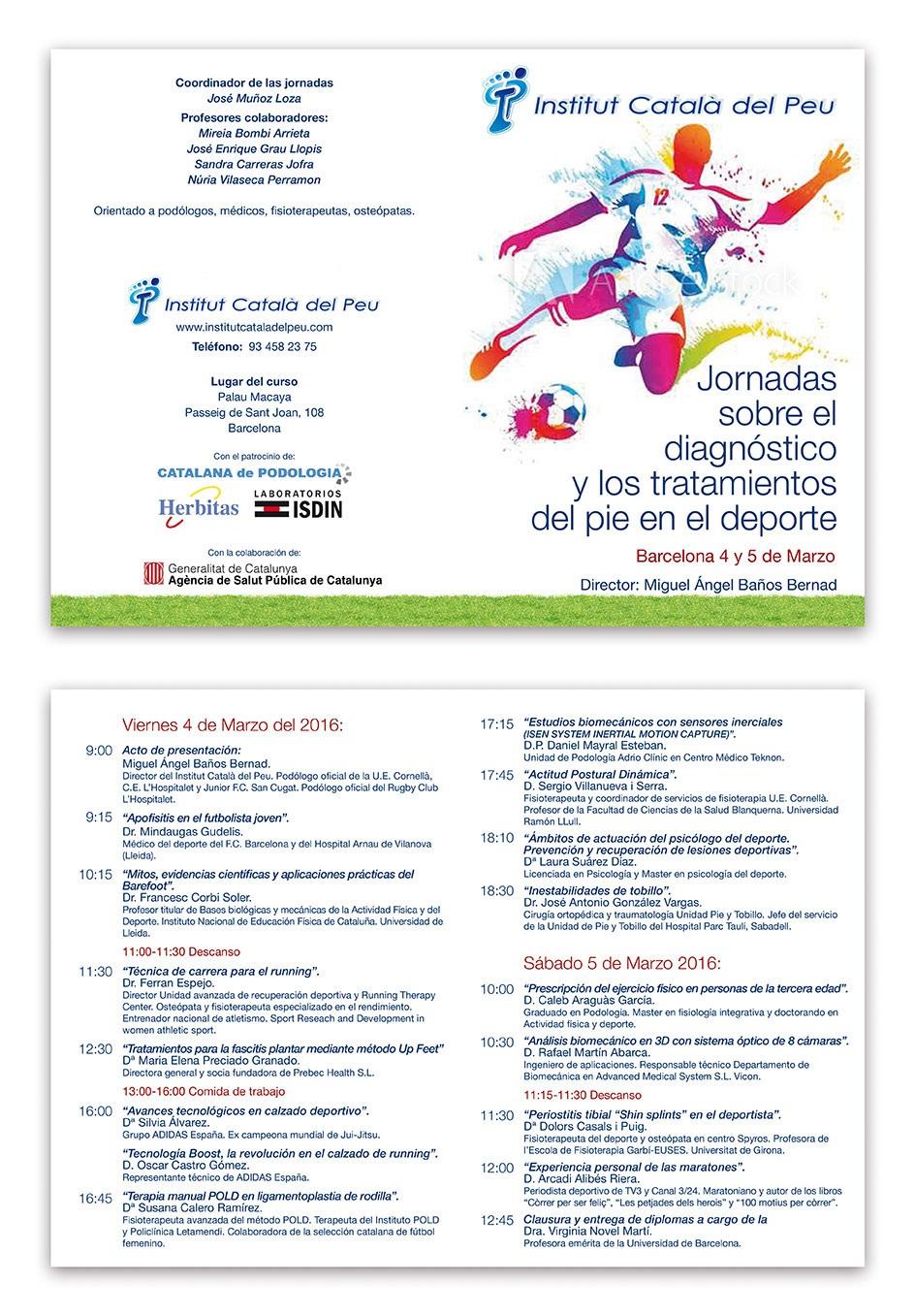 """El Institut Català del Peu organiza las """"Jornadas sobre el diagnóstico y los tratamientos del pie en el deporte"""" en Barcelona"""