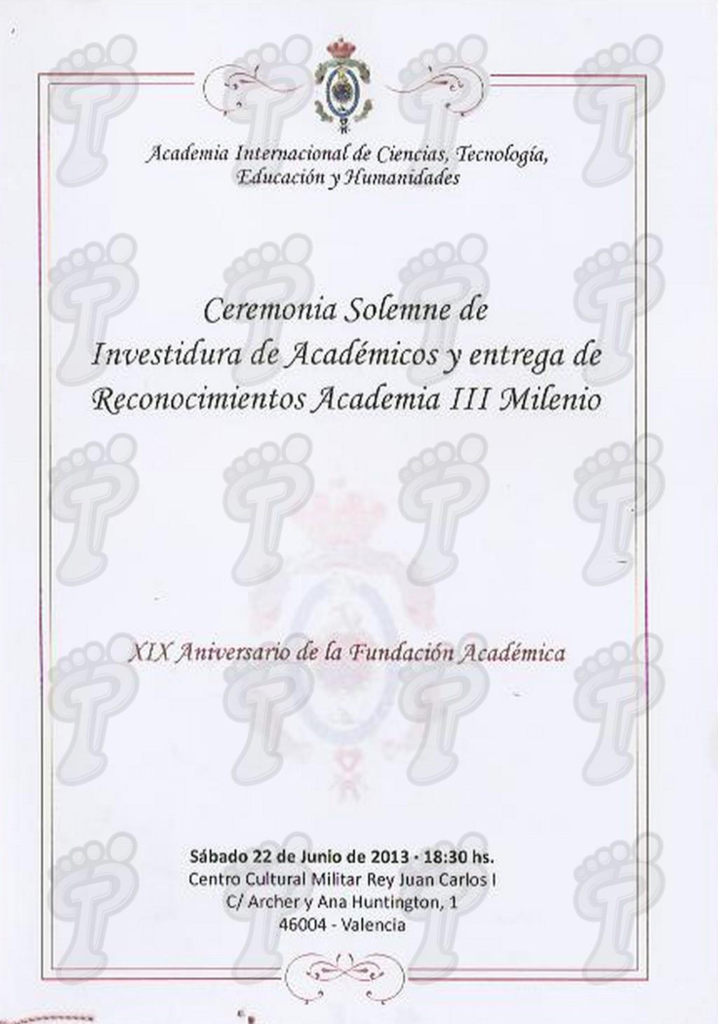 Ceremonia solemne de la Academia Internacional de Ciencias y Tecnología, 2013