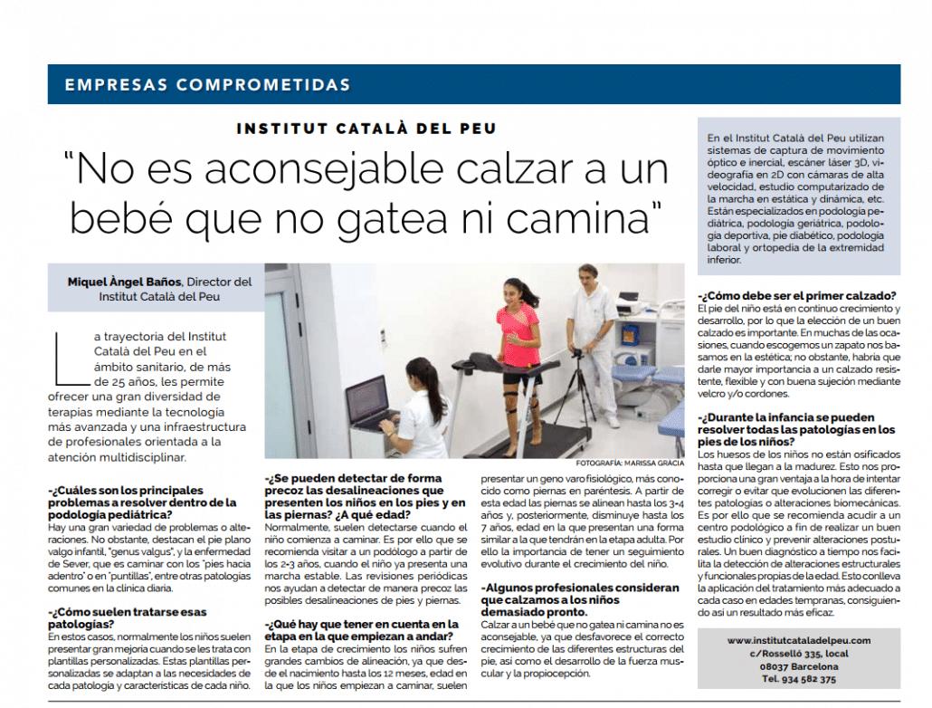 """Entrevista en """"La Vanguardia"""" a Miquel Àngel Baños Bernad, Director del Institut Català del Peu."""