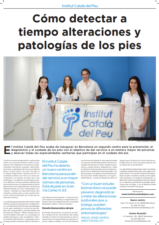 """LA VANGUARDIA"" INTERVIEWS DOCTOR MIGUEL ANGEL BAÑOS BERNAD, BECAUSE OF THE OPENING OF A NEW HEAD OFFICE OF THE INSTITUT CATALÀ  DEL PEU."