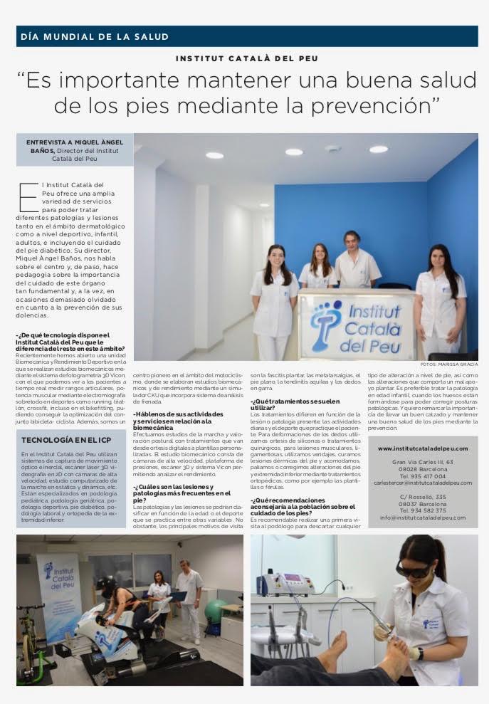 """Entrevista en """"La Vanguardia"""" a Miguel Angel Baños Bernad, director del Institut Català del Peu"""